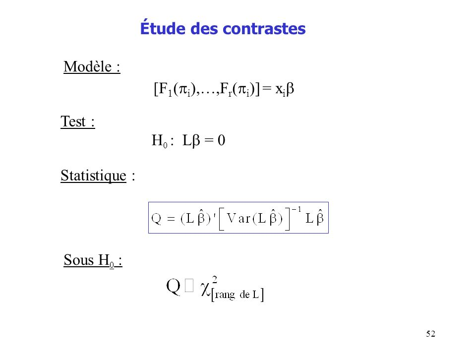 Étude des contrastes Modèle : [F1(i),…,Fr(i)] = xi Test : H0 : L = 0 Statistique : Sous H0 :